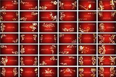 红底金色花纹卡片背景矢量素材