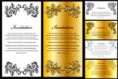 欧式华丽花纹证书模板矢量素材