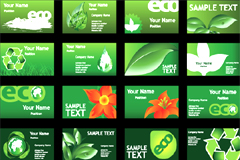 绿色环保主题名片模板矢量素材