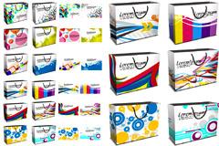 潮流图案购物袋和卡片矢量素材