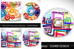 炫彩图案CD外包装设计矢量素材