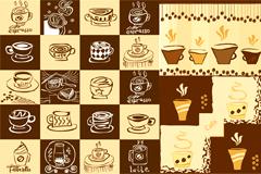 可爱手绘咖啡元素矢量素材