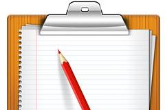 附有纸夹的笔记板和铅笔素材