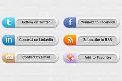 6个社会化分享按钮PSD素材