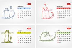 2012年猫咪日历矢量图
