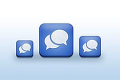 蓝色对话PSD图标下载