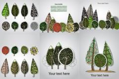树木艺术剪纸矢量素材
