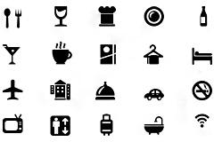 20款酒店服务标识psd素材(黑色版
