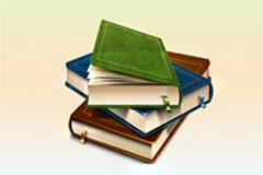 多本带书签条书籍堆放psd素材