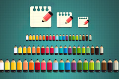 20色缤纷小铅笔PSD素材