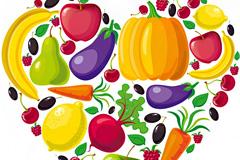 彩色果实之心矢量素材
