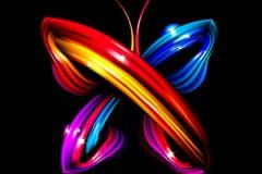 立体炫彩蝴蝶矢量素材