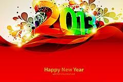 炫彩光晕新年背景矢量素材