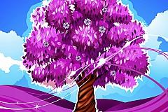 美丽粉色树矢量素材
