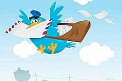 可爱蓝色信鸽矢量素材