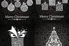复古花纹装饰圣诞矢量素材