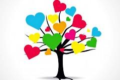 彩色爱心树矢量素材