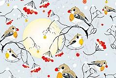 冬日觅食小鸟插画矢量素材