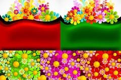 彩色花朵背景矢量素材