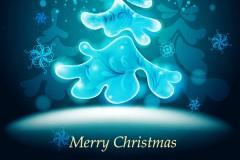 冰晶蓝圣诞树矢量素材