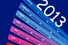 2013彩虹扇形年历矢量素材