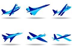 蓝色飞机模型矢量素材