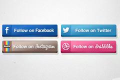 四款主流社交网站按钮PSD素材