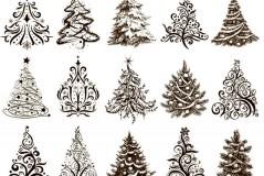 手绘圣诞树纹样矢量素材