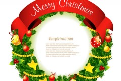 精美圣诞花环矢量素材