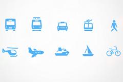 十种交通方式图标PSD素材