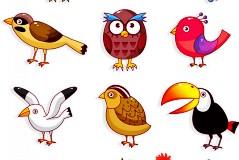 可爱卡通家禽鸟类矢量素材