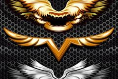 金属质感翅膀纹样矢量素材