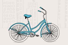 淡雅手绘自行车矢量素材