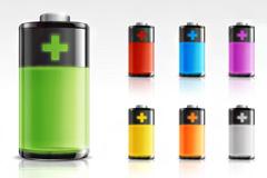 彩色质感电池图标PSD素材