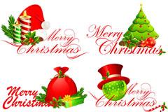 圣诞快乐英文字体矢量素材