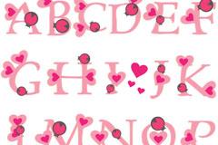 童趣粉色英文字母矢量素材