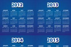 蓝色2012-15年日历矢量素材