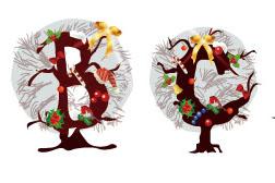 圣诞主题英文字母矢量素材
