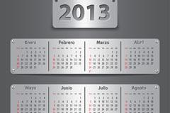 2013银色质感日历矢量素材