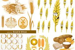 小麦创意主题矢量素材