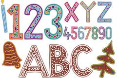卡通节日英文字母矢量素材