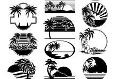 休闲沙滩剪影标签矢量素材