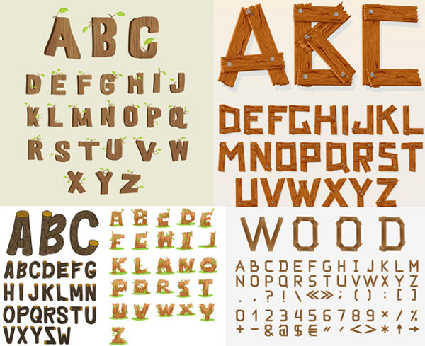 创意木制英文字母矢量素材