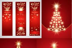 绚丽金色圣诞树矢量素材