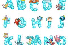 卡通海洋字母设计矢量素材