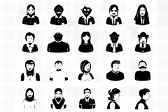 各种人物造型黑白稿PSD素材