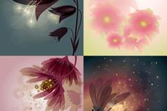 梦幻优雅花卉矢量素材