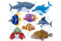 可爱卡通海洋动物矢量素材
