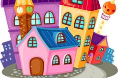 卡通彩色房屋矢量素材