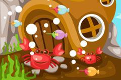 卡通螃蟹小屋矢量素材